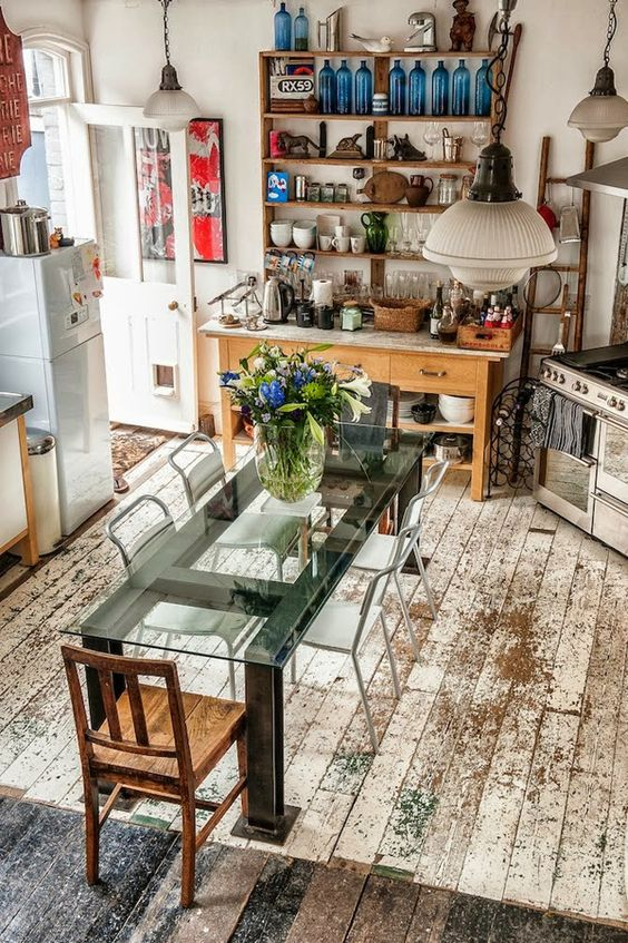 distressed wooden floors in the kitchen