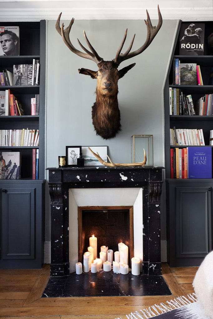 Living room fireplace and library design