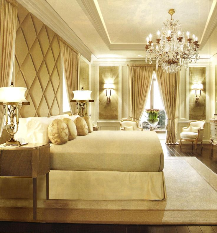 Vintage table lamps and cozy warm bright bedrooms with wonderful chandeliers