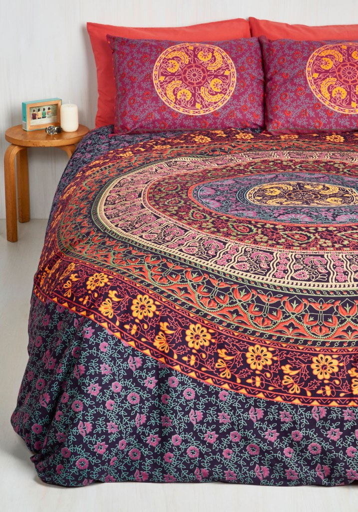 Floral bed covers bohemian bedroom