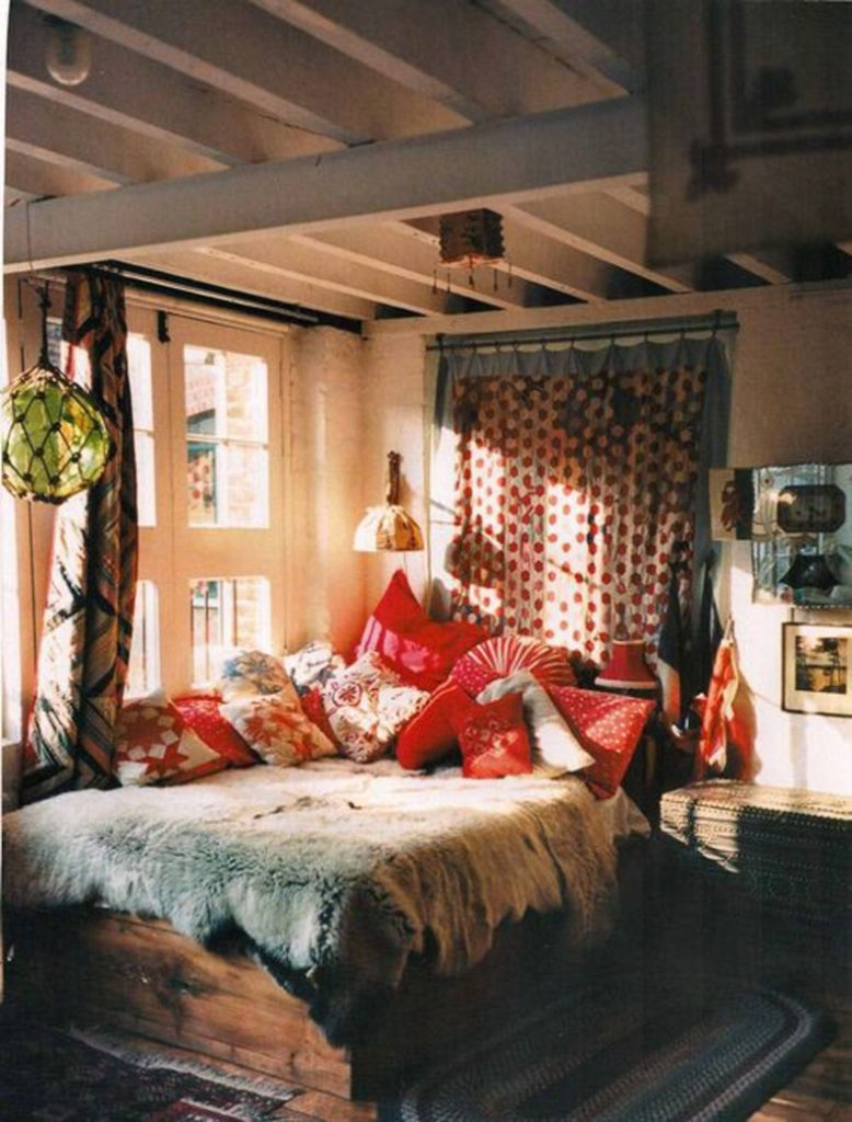 Boho Chic Bedroom With Polka Dots Fabric