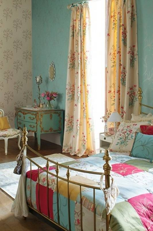 Colorful bedroom coverings with patched bedrooms