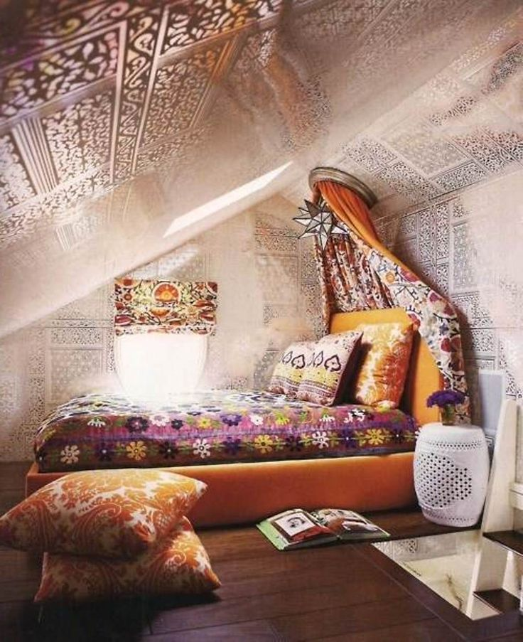 Bohemian attic bedroom