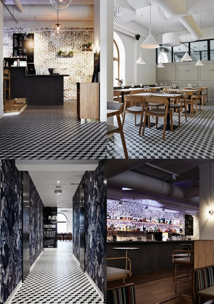 White Brick Wall Cafe with black and white flooring Intro Restaurant and nightclub