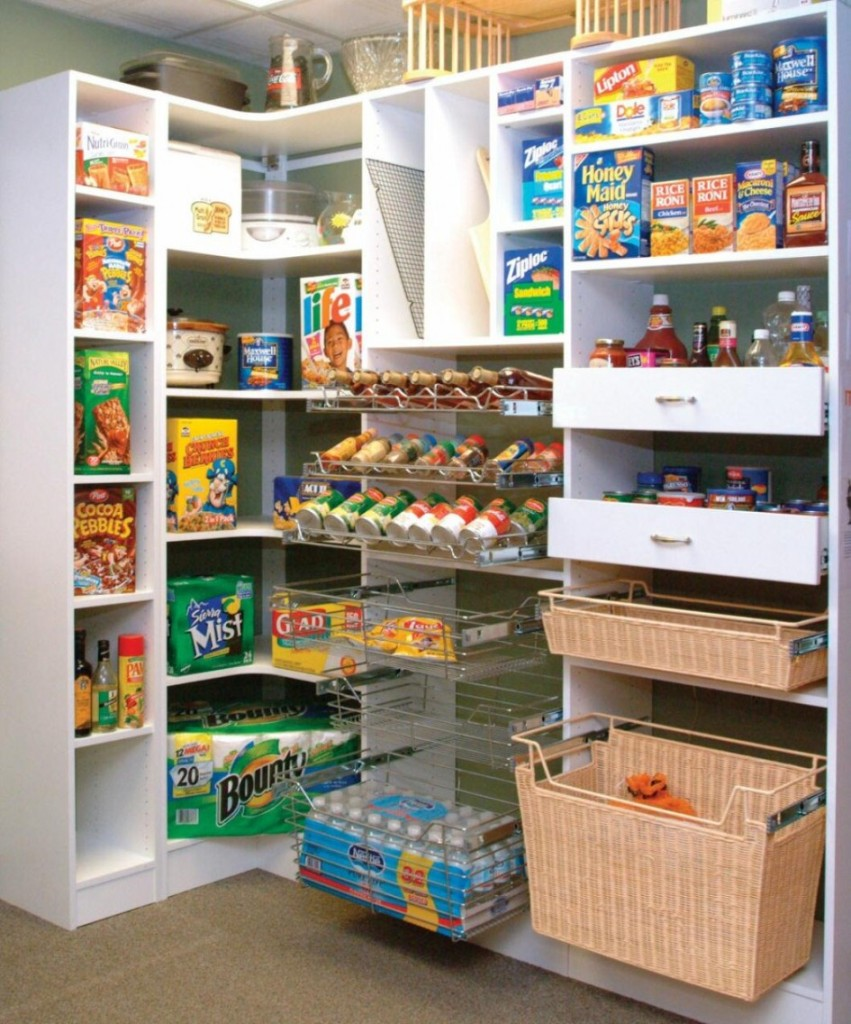 two shelves of wicker basket with organization of kitchen pantry