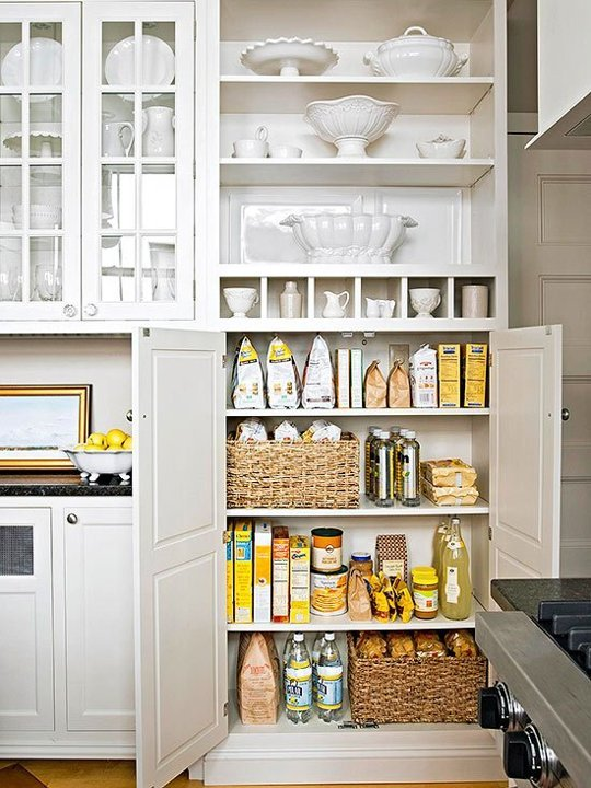 Organized kitchen cabinets and baskets