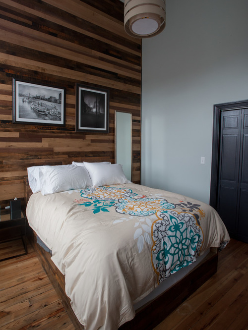 horizontal wooden planks bedroom