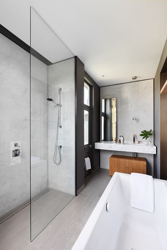 Bathroom design with marble copper fittings
