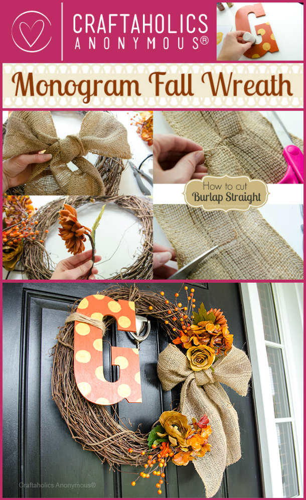 Monogram Fall Wreath DIY Home Decor