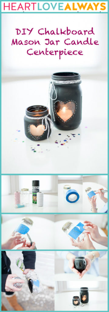DIY chalkboard Mason Jar Candle Centerpiece