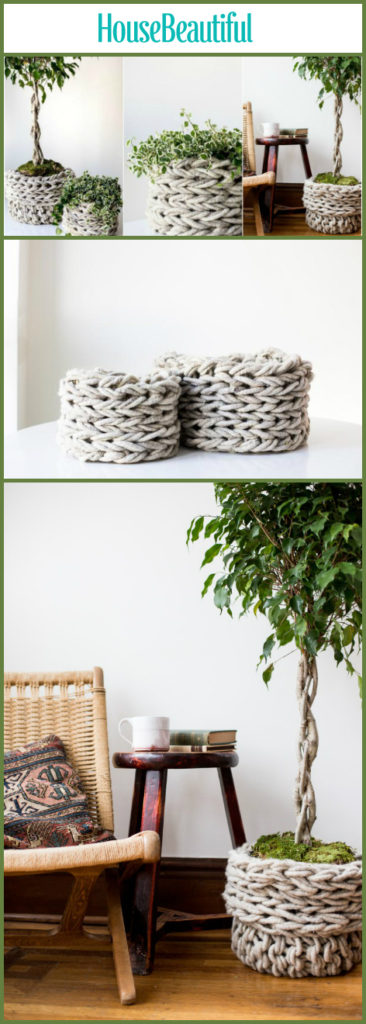 Chunky Knitted DIY Baskets Plant Pots