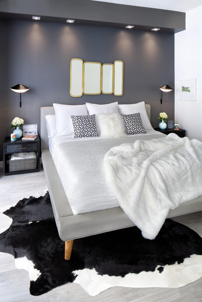 Sophisticated black and white bedroom design