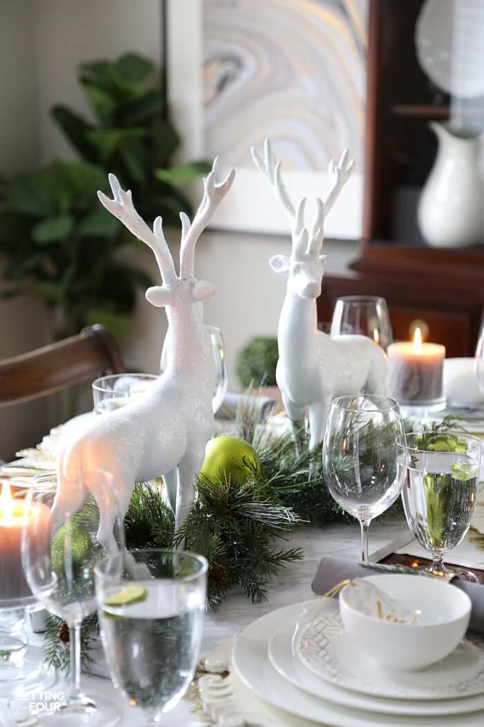Elegant chic Christmas table centerpiece