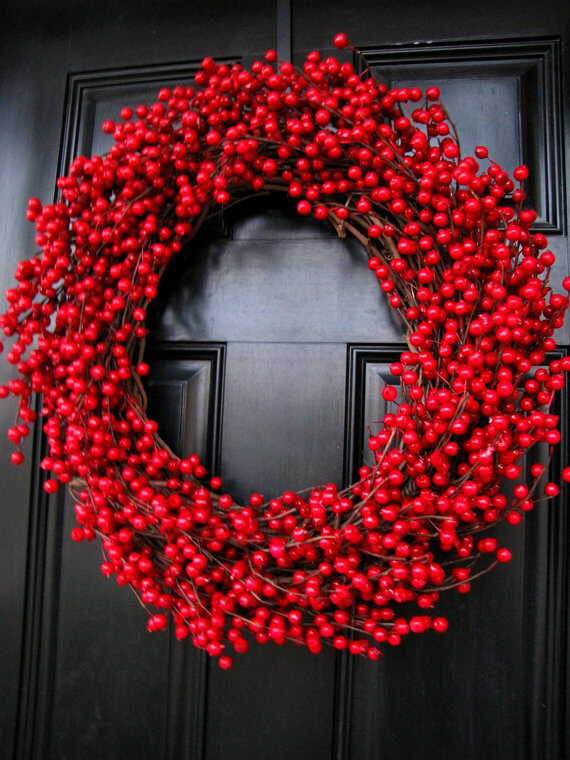 Traditional cranberry wreath Christmas decor