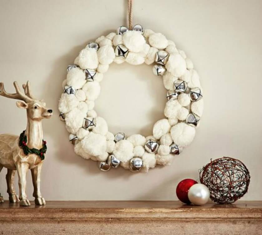 Creative Pom Pom And Bells Wreath