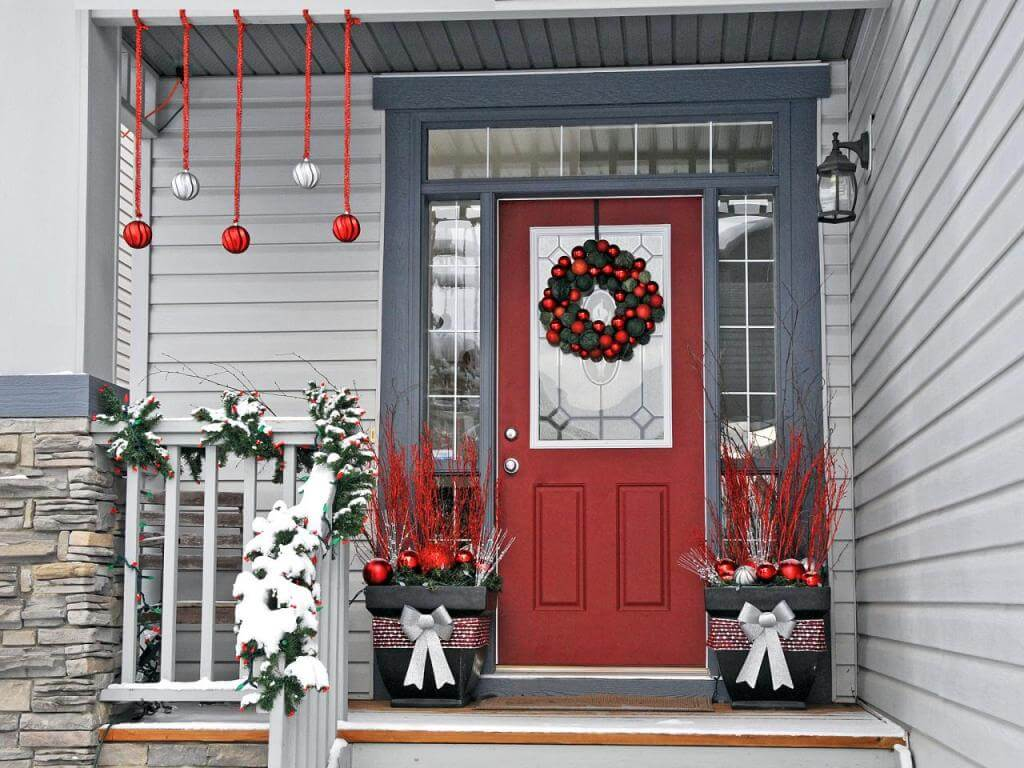 Porch gray Christmas decoration