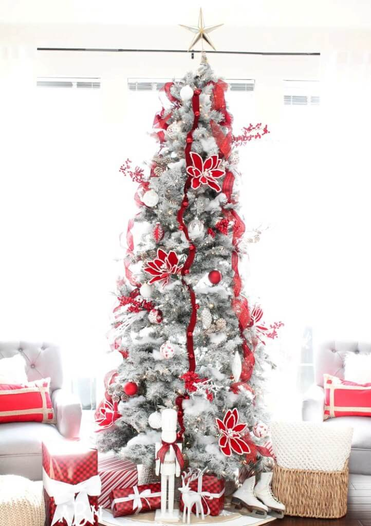 Gray Christmas tree with red decoration