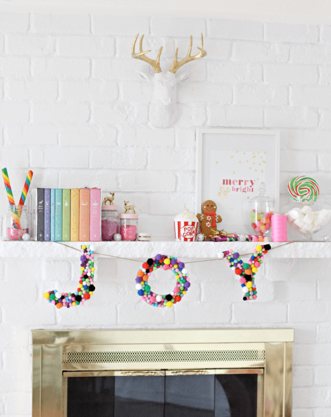 Minimalist fireplace colorful Christmas decor