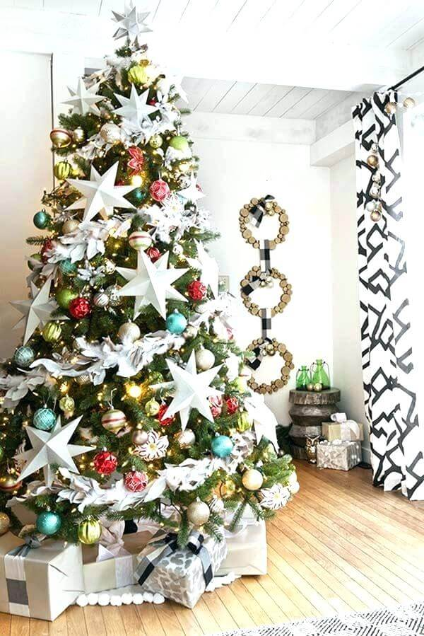 Glamorous Christmas tree with stars