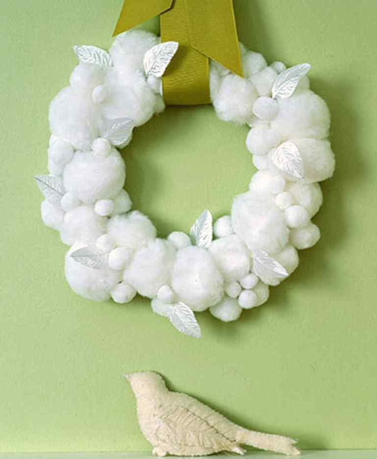 Fireplace Mantle Snowball Wreath Decor
