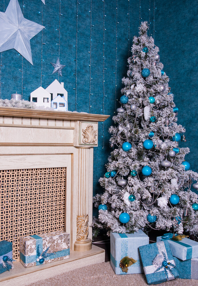 Christmas tree with silver blue decoration