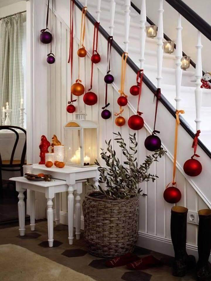 Colorful Christmas balls and ribbon decor
