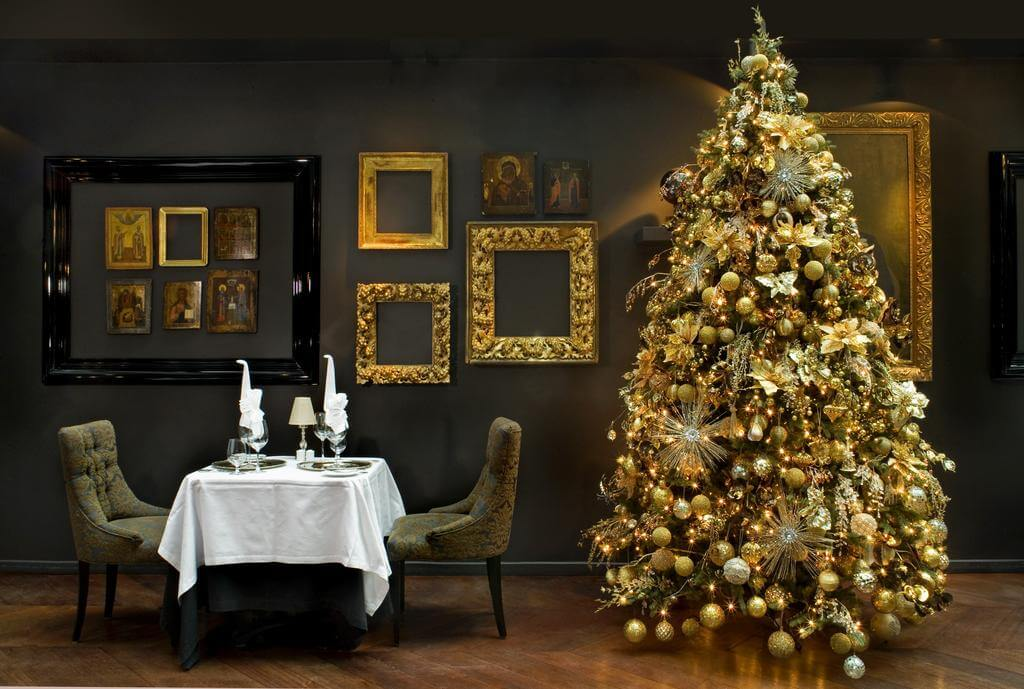 Gold Christmas tree living room