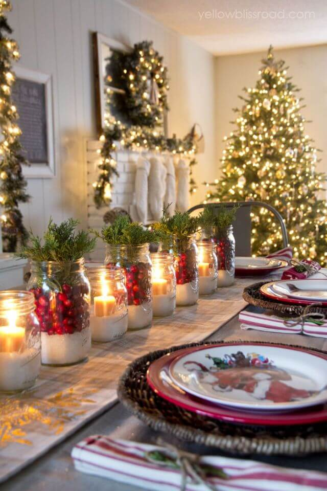 Simple Rustic Christmas table settings