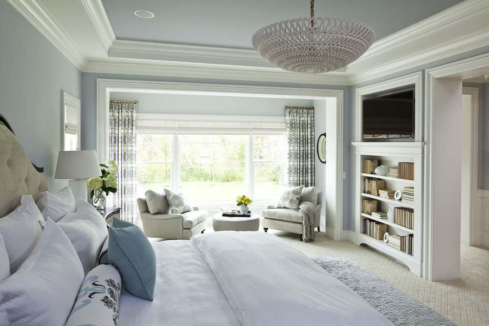 Design ideas expansive traditional bedroom with gray walls and carpets