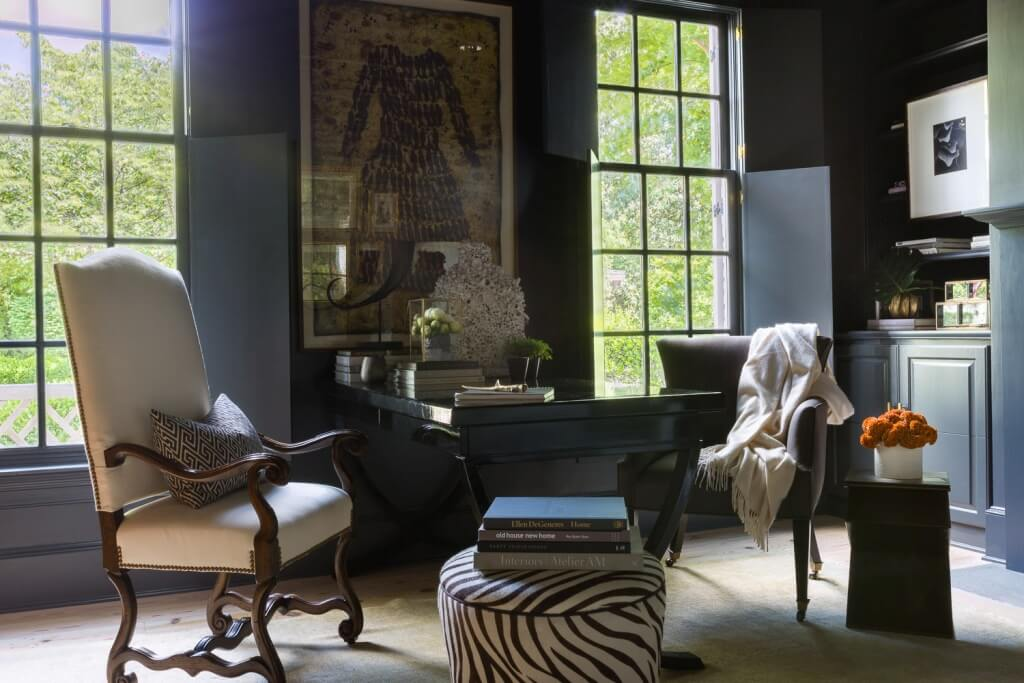 Black walls and furniture