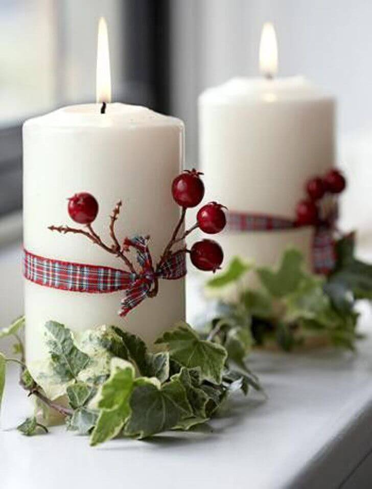 Natural elements Christmas candle decoration