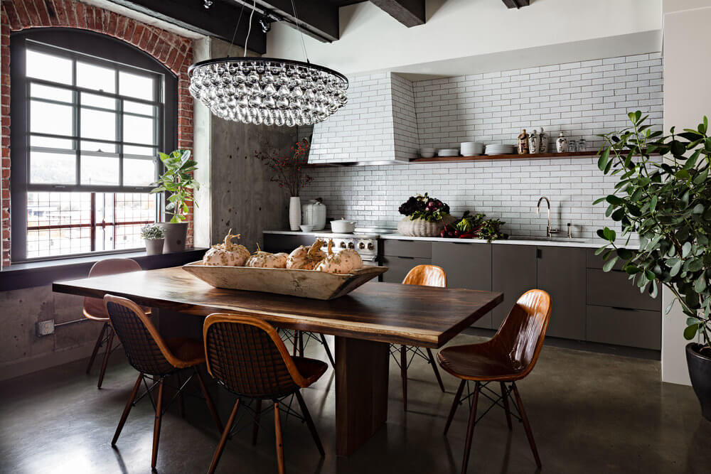 white brick wall kitchen