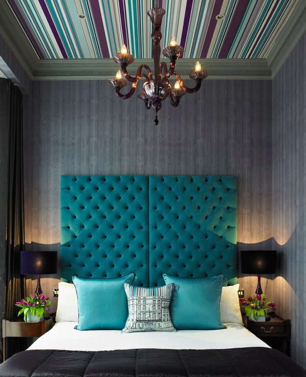 modern glamorous bedroom with roofing customized headboard