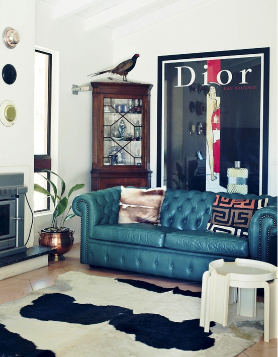 teal Chesterfield sofa