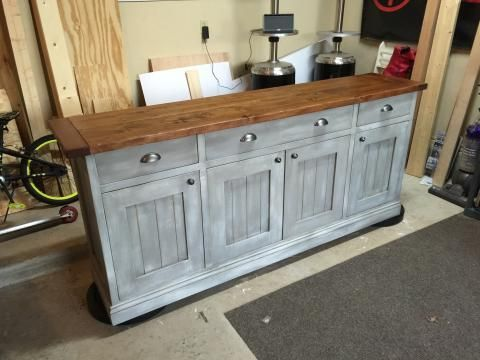 diy gray with wood top Planked Wood Sideboard so beautiful! love .