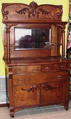 antique oak sideboard buffet with mirror - Google Search | Antique .