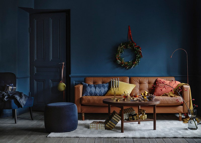 Wonderful Christmas interiors in dark blue by IKEA 〛 ◾ Photos .