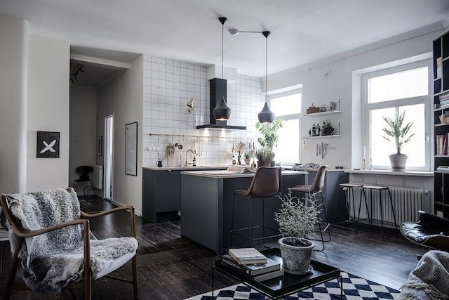 my scandinavian home: A Swedish apartment with dramatic dark .