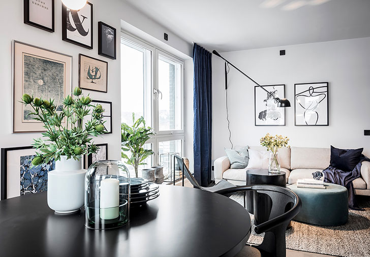Touches of deep blue in Scandinavian home 〛 ◾ Photos ◾Ideas .