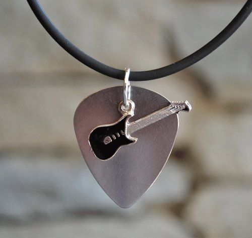 Stainless Steel Guitar Pick Necklace with Black Electric Guitar .