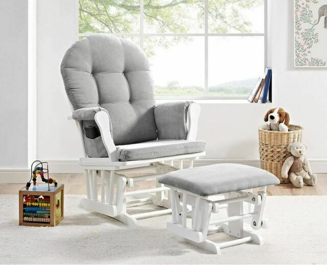 Grey Glider For Nursery Gliding Chair Baby Room Ottoman Cushions .