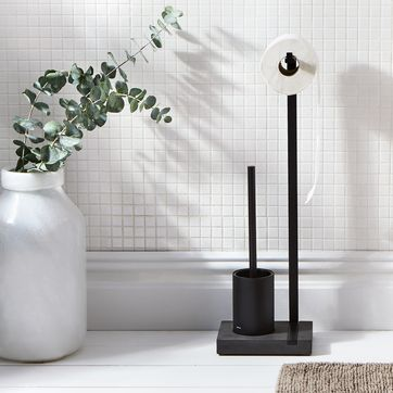 Modern Black Toilet Brush & Bathroom Accessories on Food