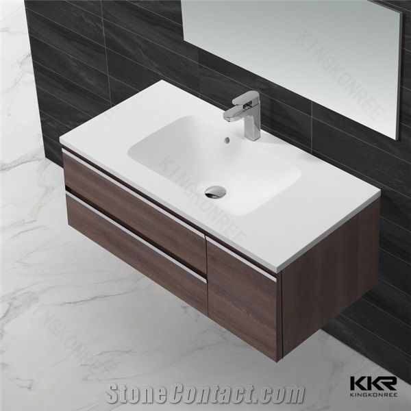 Factory Price Modern Solid Surface Cabinet Wash Basin for Bathroom .