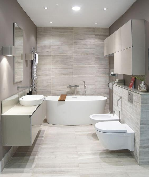 Beautiful Modern Bathroom Designs With Soft and Neutral Color .