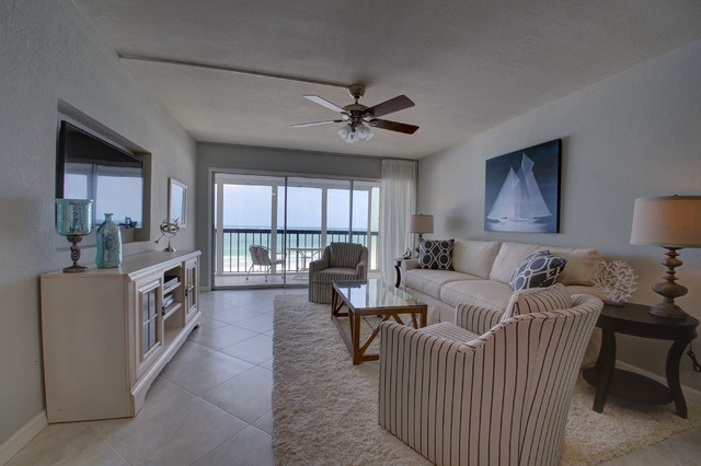 Vintage Florida Beach Condo gets a Transitional Remodel - Beach .