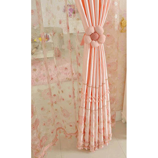 Pink Floral Lace Princess Beautiful Room Divider Curtains for .