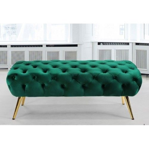 Green Velvet All Over Tufted Ottoman Bench Gold Pencil Legs in .