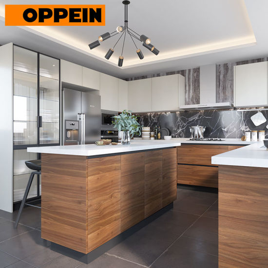 China Oppein White and Wood Grain Contemporary Eat-in Bespoke .