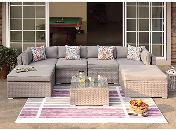 Amazon.com: COSIEST 7-Piece Outdoor Furniture Warm Gray Wicker .