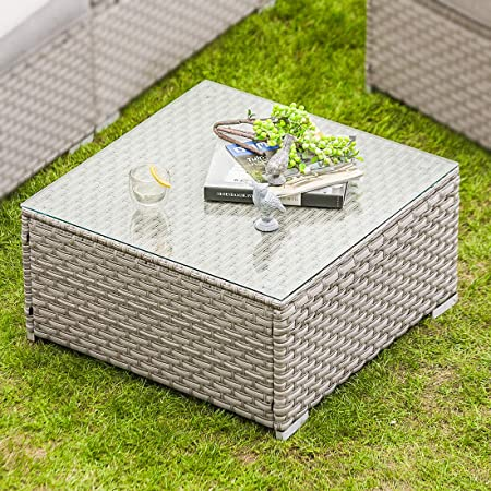 Amazon.com : COSIEST Outdoor Furniture Warm Gray Wicker Glass-Top .